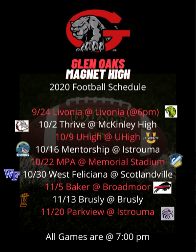 2020 GOMHS Football Schedule