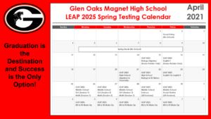GOMHS Spring Testing Schedule 2021